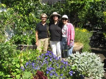 Master Gardeners Terry Nevin, Marie Narlock, and Donna Gowan provide assistance in the Marin Ventures Garden.