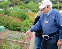 Harvey leading a recent tour of his garden